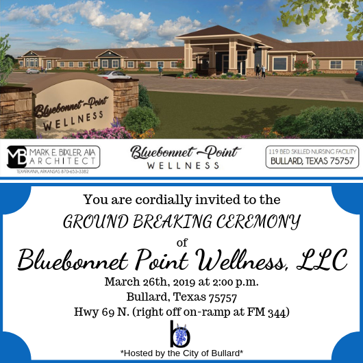Bluebonnet Point Wellness Ground Breaking Ceremony Invitation