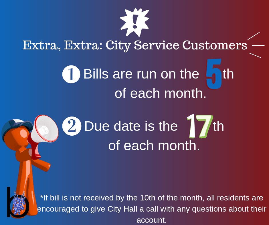 City Service bills run on 5th, due on 17th